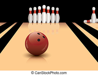 vector bowling ball and pins - vector bowling ball ready to...