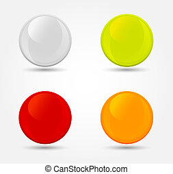 Vector colored glossy orbs - 4 color glossy buttons. Vector...