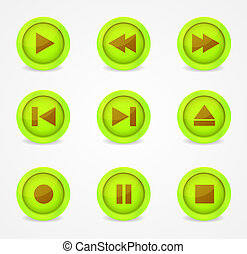 Media player glossy buttons collection - Media player...