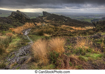View from Ramshaw Rocks in Peak District National Park towards The Roaches