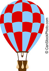 Hot air balloon in blue and red design on white background