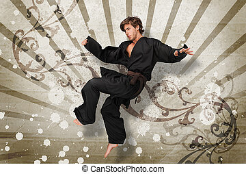 Martial arts expert jumping on beige art nouveau style...