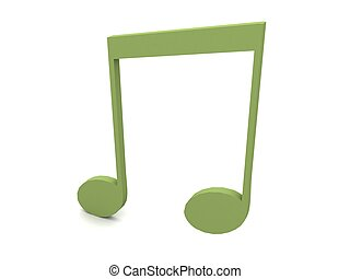 three dimensional musical note in green color
