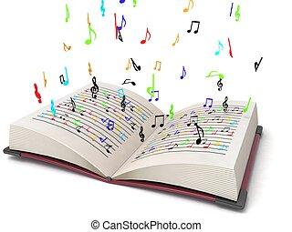 três, dimensional, voando, musical, notas