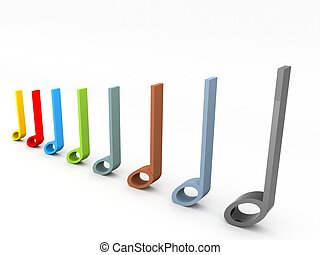 three dimensional musical notes