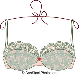 Vintage bra on white background - Vector vintage bra on...