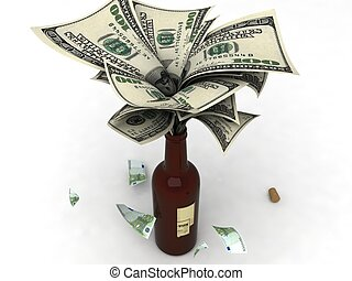 isolated three dimensional view of dollars in bottle