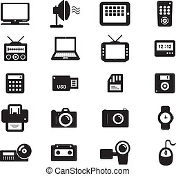 Electronic and Accesories Icon Black and White