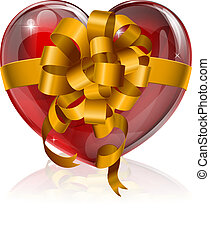 Heart bow gift concept
