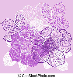 Floral background with flowers of peony - Decorative floral...