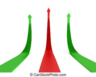 arrows indicating profit and loss - three dimensional arrows...
