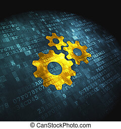 Finance concept: Gears on digital background - Finance...