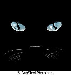 Closeup portrait of a Halloween black cat - Portrait of...