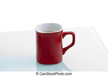 red coffee mug with white background