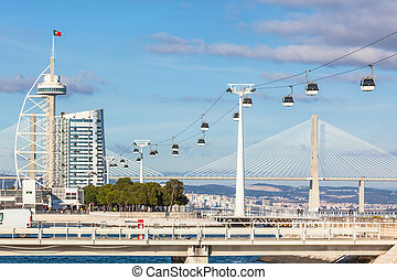 Expo district, Lisbon, Portugal - Cable car in Expo...