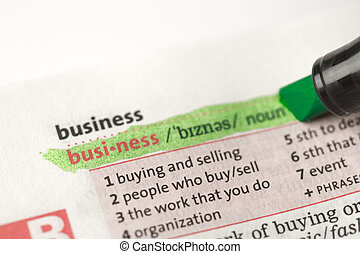 Highlighted definition of business