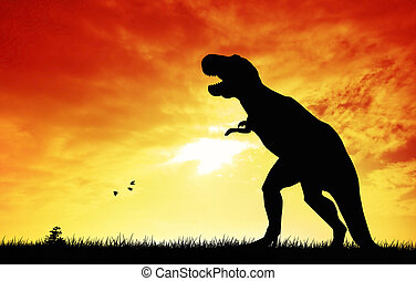 Dinosaurs at sunset - Prehistoric dinosaurs