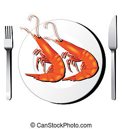 Shrimp on white dish with fork and knife vector