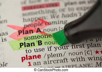 Plan B definition highlighted in green with Plan A marked -...