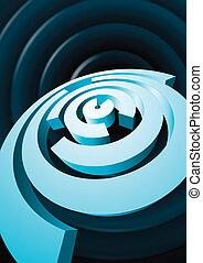 Abstract rotating circles with cut sectors