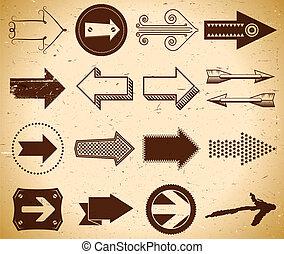 Set of vintage arrows - Set of trendy vintage arrows on...