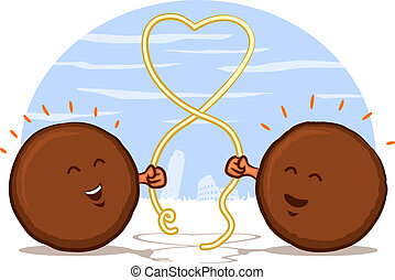 Italian Meatball Cartoon - Meatballs with Spaghetti Heart...