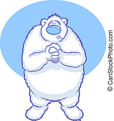Polar Bear Cartoon - Illustration of a white polar bear...