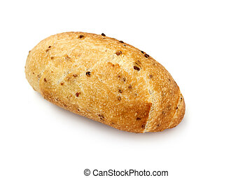 close up of soy bread on white background