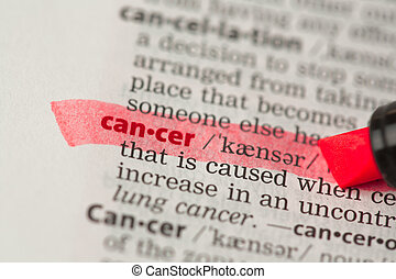 Cancer definition highlighted in red