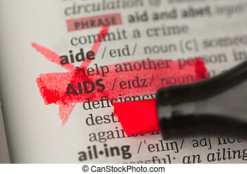 AIDS definition marked and highlighted in red