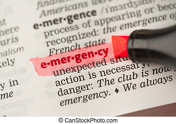 Emergency definition highlighted in red
