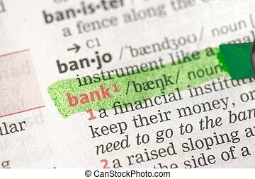 Bank definition highlighted in green
