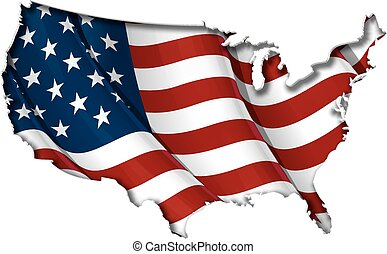 US Flag-Map Inner Shadow - USA map cut-out, highly detailed...