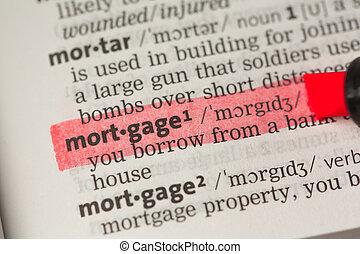 Mortgage definition highlighted in red in the dictionary