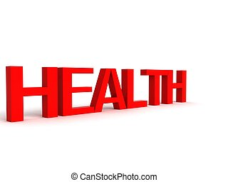 three dimensional letters of health against white background