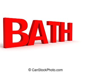 three dimensional side view of bath text