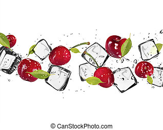 Fresh cherries with ice cubes, isolated on white background