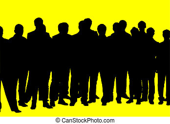 Silhouette crowds - silhouette of a crowd of people on a...