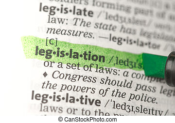 Legislation definition highlighted in green in the...