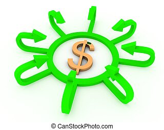 dollar sign with profit arrows