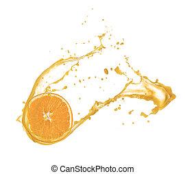 薄片, 被隔离, 汁, 飛濺, 背景, 橙, 白色