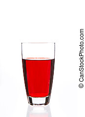Glass filled with red liquid