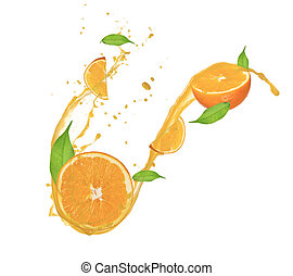 に薄く切る, 隔離された, ジュース, はね返し, 背景, オレンジ, 白