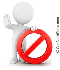 3d white people with forbidden sign, isolated white...