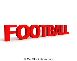 side view of football word - side view of three dimensional...