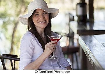 Having a drink at a bar