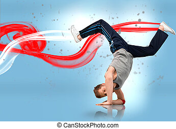 Break dancer busting a move with red and white smoke trails...