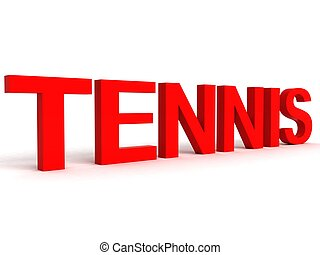 side view of tennis word - side view of three dimensional...