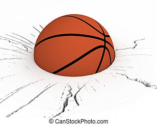 three dimensional front view of basket ball on cracked...
