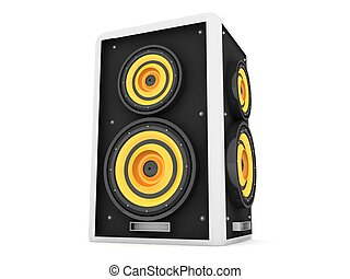 three dimensional front view of loud speaker - three...